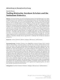 Unfragmented Shalom In Shattering World Paul W Martin Trailing Nietzsche Gershom Scholem And The Sabbatean Dialectics