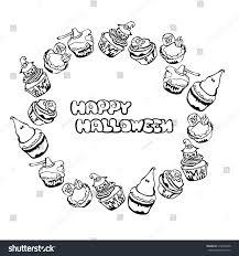 happy halloween cupcakes round frame wreath stock vector 316904348