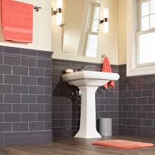 Backsplash Art Llc Bathroom Gorgeous Subway Tile Feature Wall Bathroom Gray Floor