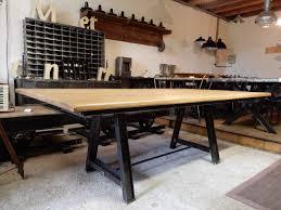 Table Acier Bois Industriel by Table Industrielle 220 Cm X 120 Cm Pieds En Acier Geonancy