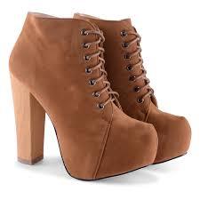 womens boots block heel stylish high block heel concealed platform lace up
