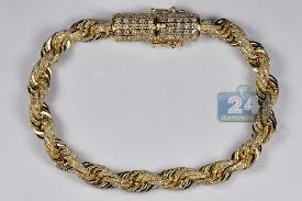 gold bracelet diamonds images Mens diamond rope bracelet solid 10k yellow gold 8 12 ct 7 mm 8 quot jpg