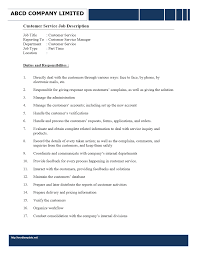 Customer Service Skills Examples For Resume by Customer Service Representative Duties Responsibilities Resume