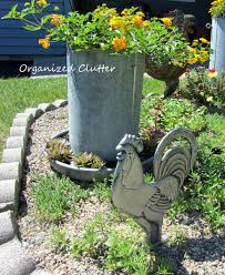 organized clutter garden hens and and roosters