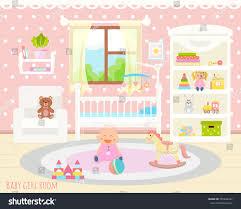 Baby Room Interior by Baby Room Interior Flat Design Stock Vector 555849937