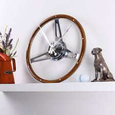 classic car walnut steering wheel desk clock by vyconic