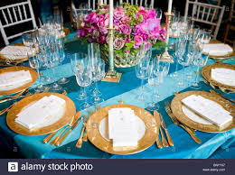 decorations and place settings for the mexico state dinner at the