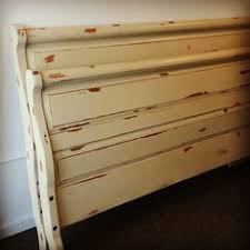 upcycled ivory shabby chic hand painted sleigh bed frame reno