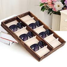 rustic wood display cabinet amazon com rustic wood sunglass display case 14 compartment for