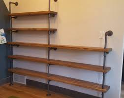 industrial steel gas pipe bookcase by standingwavewoodwork on etsy