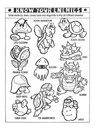 nintendo power colouring pages classic video game party