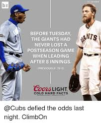 coors light cold hard facts br season before tuesday the giants had never lost a postseason game