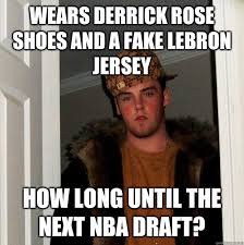 Derrick Rose Jersey Meme - wears derrick rose shoes and a fake lebron jersey how long until