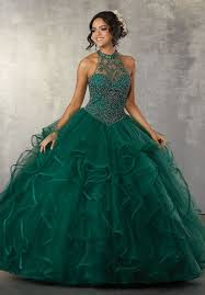 aqua green quinceanera dresses ruffled illusion quinceanera dress by mori vizcaya 89163 abc