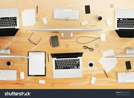 top view wooden conference table office stock photo 282831254