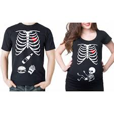 Funny Halloween Tee Shirts by Halloween Couple T Shirts Skeleton Burger Beer Funny Halloween