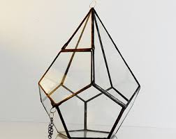 hanging glass terrarium glass planter polyhedron triangular