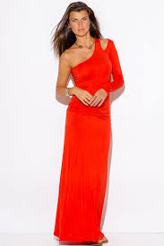 shop orange red one shoulder cut out sleeve ruched fitted summer