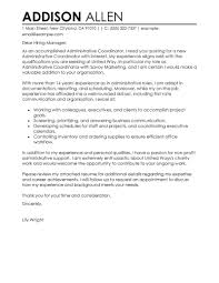First Job Cover Letter Template by Administrative Coordinator Cover Letter Examples Administration