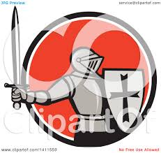 oranges clipart black and white clipart of a retro knight in full armor holding up a sword and