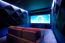 interior alluring home movie theater room design with red sofa and