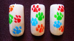 dog paw print nail design for beginners youtube