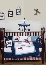 Plane Crib Bedding White And Blue Vintage Aviator Airplane Baby Bedding 9