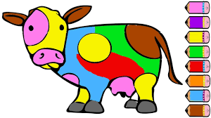cow coloring page how to draw cow learn colors for kids youtube