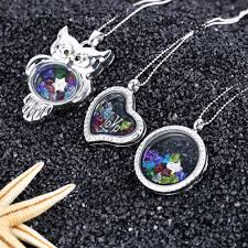 locket necklace with charms images Cute floating glass crystal birthstone living memory locket jpg