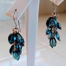 Long Chandelier Earrings Dangle Earrings London Blue Topaz Earrings Topaz Dangle Earrings 14k White Gold