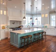 turquoise kitchen island white kitchen with a contrasting island adds a pop of color
