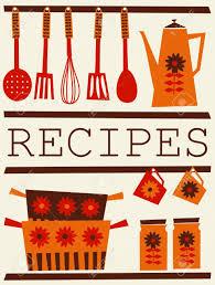 Orange Accessories Illustration Of Kitchen Accessories In Retro Style Recipe Card