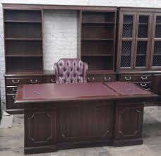 Office Desk Leather Top Kimball Wood Desk With Leather Top Office Furnishings