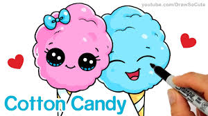 how to draw cartoon cotton candy cute and easy step by step youtube