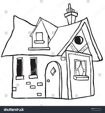 simple black white cute little house stock illustration 332086670