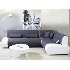 canapé angle droit tissu polyester et pvc gris et blanc miami déco