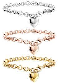 chain link bracelet charms images Besteel 3 pcs stainless steel chain link bracelets for jpg