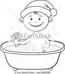 eps vectors of baby santa claus washing in the bath outline