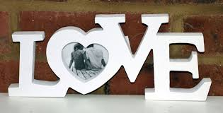 love photo heart frame white out word sign ornament shabby chic