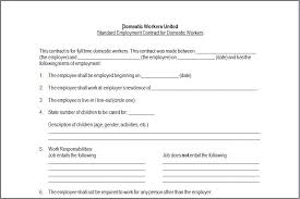 nanny contract template template design