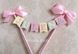 pink and silver baby shower custom yellow pink silver name cake topper bunting baby shower