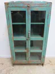 China Cabinets With Glass Doors Antique Primitive Indian Reclaimed Hutch Glass Door China Cabinet