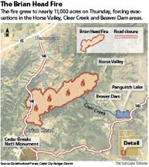 Beaver Lake Map Brian Head Fire Threatens Second Resort Community After Doubling
