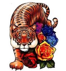 color realism tiger and flowers by mat valles realism