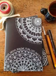 Hand Decorated Black Cover Sketchbook Notebook Journal 40 pages