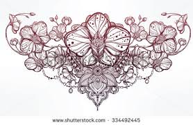 vintage floral highly detailed hand drawn stock vector 334492445