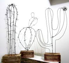 diy wire cactuses for home wire decor wooden stands kunst
