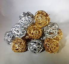 decorative spheres silver and gold rattan vase