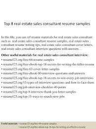 How To Write A Real Estate Resume Top8realestatesalesconsultantresumesamples 150517013119 Lva1 App6891 Thumbnail 4 Jpg Cb U003d1431826331