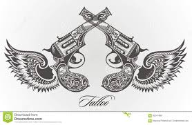 guns with wings tattoo design stock vector image 92041880